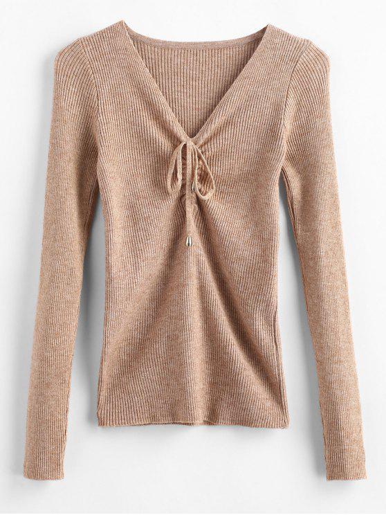 Pullover mit V-Ausschnitt - Tan Eine Größe