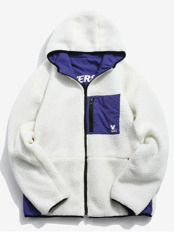 women Graphic Reversible Fuzzy Hoodie - WHITE M