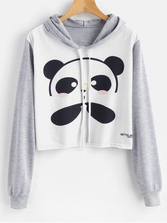 Felpa Con Cappuccio Corta Grafica Di Panda - Multi Colori S