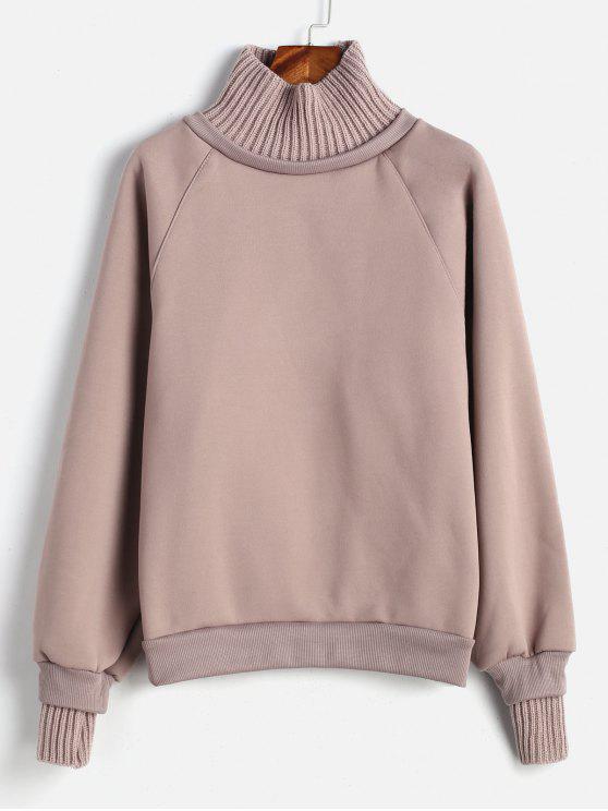 Fleece Kontrast Ribbing übergroßes Sweatshirt - Puce L