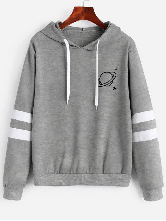 lady Contrast Stripes Panel Planet Graphic Hoodie - GRAY CLOUD XL