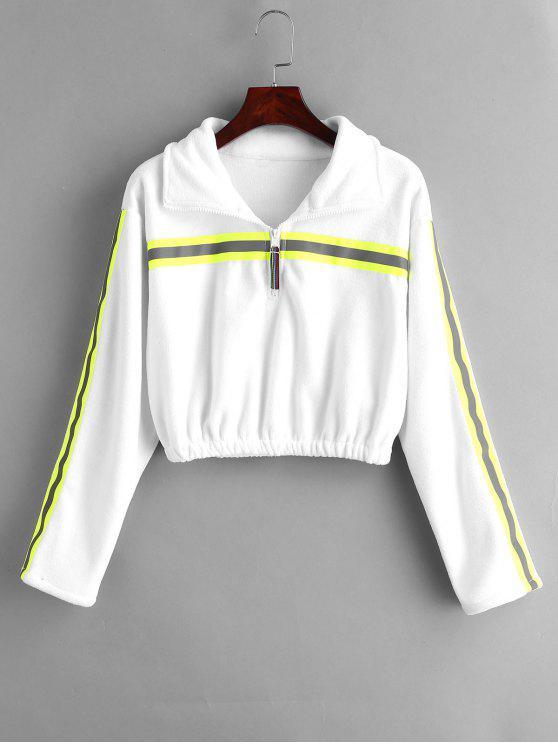 Half Zip-Streifen abgeschnitten Sweatshirt - Weiß M