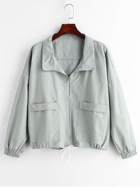 Bolsillo con cremallera bolsillos chaqueta - Cian claro M