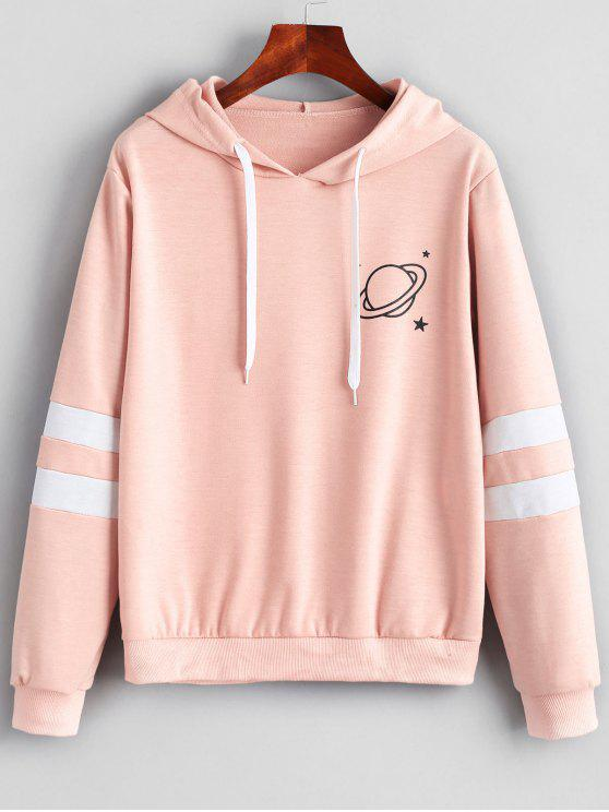 women Contrast Stripes Panel Planet Graphic Hoodie - LIGHT PINK M