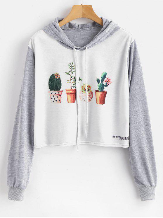 Sweat à capuche graphique imprimé de plantes en pot - Multi M