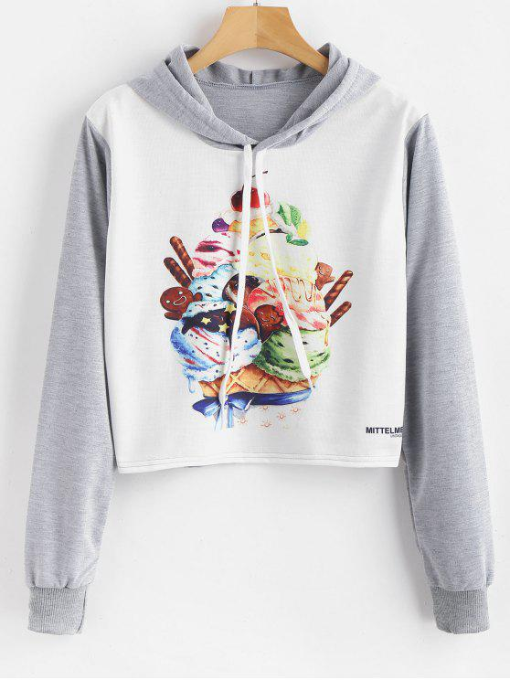 Graphic Cropped Pullover Hoodie - Multi M