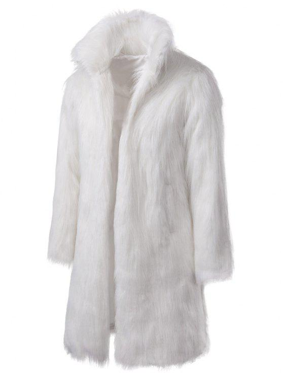 Manteau Long en Fausse Fourrure - Blanc M