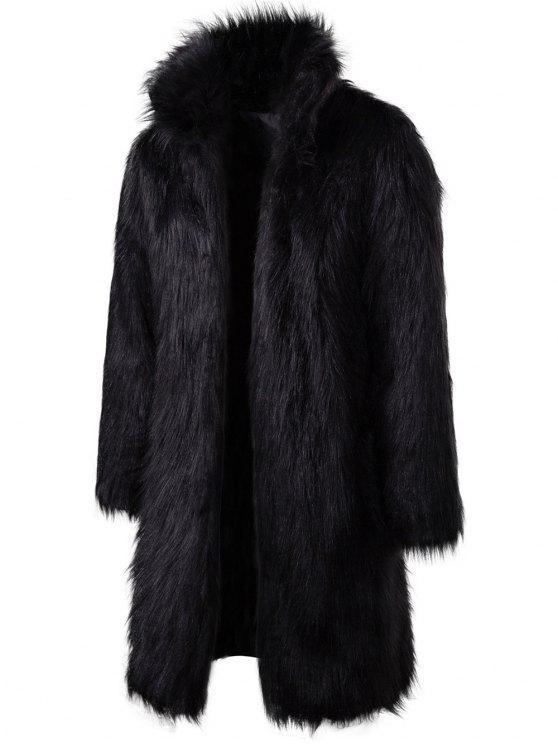 Abrigo largo de piel sintética - Negro M