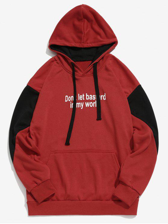 lady Panel Letter Print Hoodie - RED XL