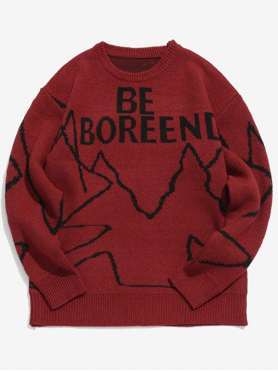 Maglione Aderente Grafico Di Lettere - Vino Rosso L