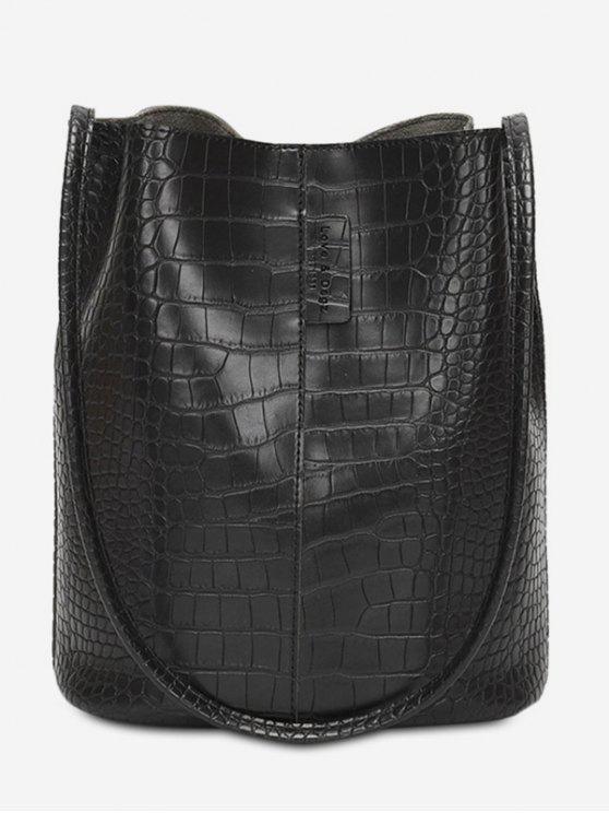 حقيبة كتف بتصميم جلد صناعي سعة كبيرة - أسود