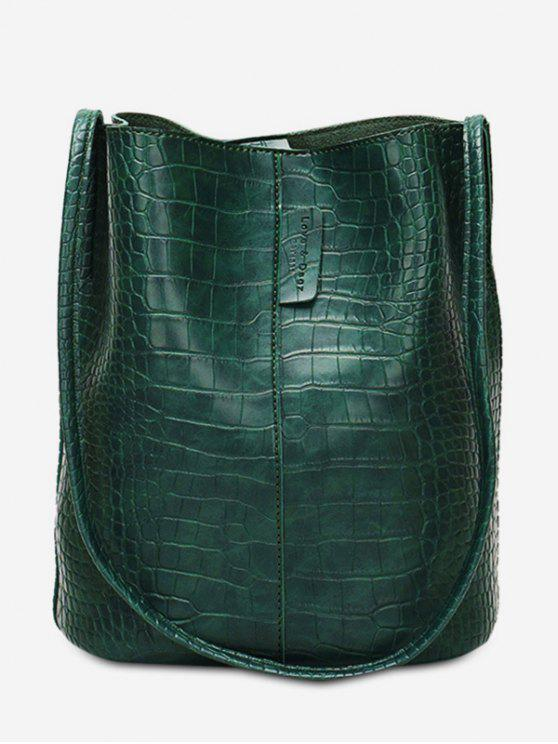 حقيبة كتف بتصميم جلد صناعي سعة كبيرة - ديب غرين