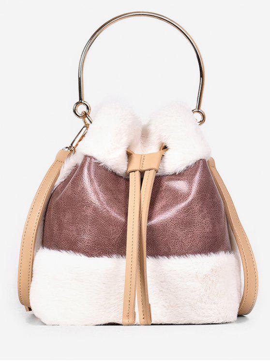 shop Fluffy String Design Bucket Tote Bag - LIGHT PINK