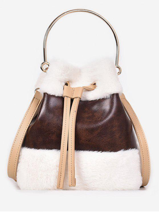 outfits Fluffy String Design Bucket Tote Bag - BROWN
