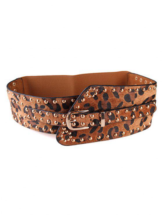 hot Punk Rivets Leopard Belt Elastic Wide Belt - CAMEL BROWN