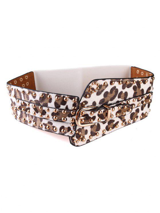 best Punk Rivets Leopard Belt Elastic Wide Belt - WHITE