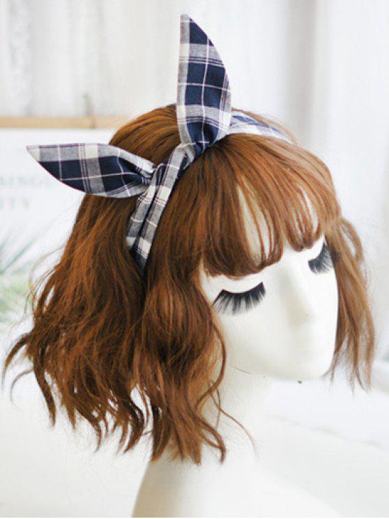 fashion Plaid Print Headband - CADETBLUE