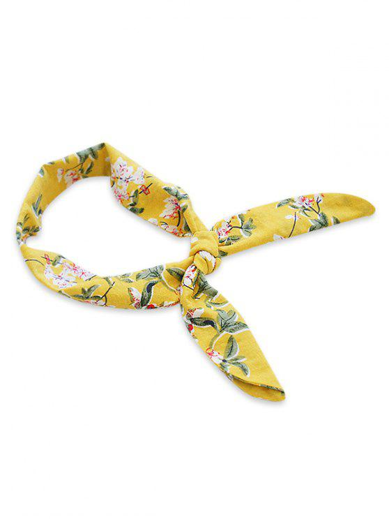 chic Multifunctional Floral Print Headband Scarf - SUN YELLOW