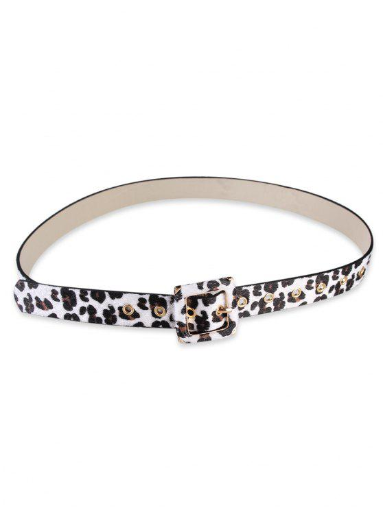 outfit Square Bucket Faux Leather Leopard Skinny Belt - WHITE