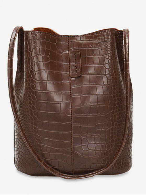 affordable Large Capacity Artificial Leather Design Shoulder Bag - COFFEE