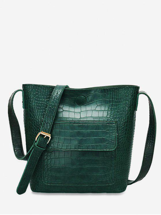 outfits Magnetic Hook Design Artificial Leather Crossbody Bag - DEEP GREEN