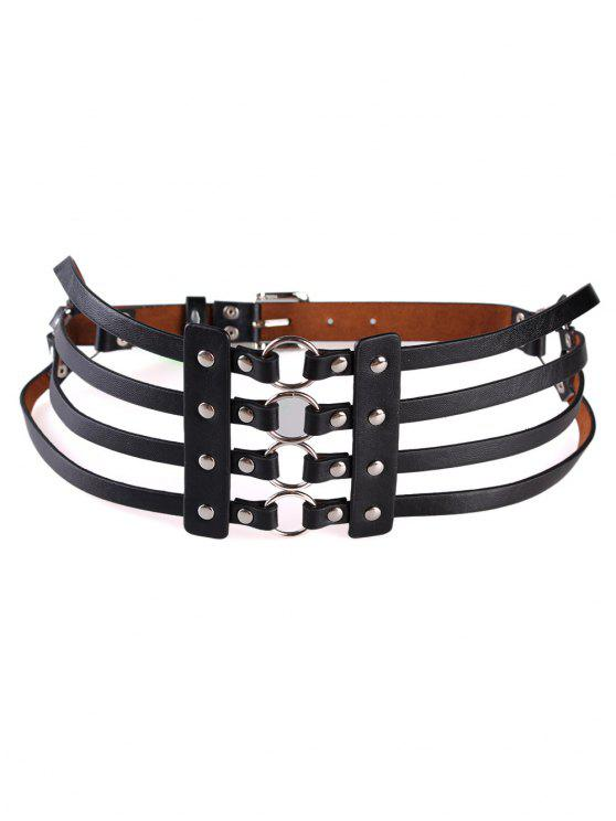 affordable Punk Hollow Out Faux Leather Rivets Wide Belt - BLACK