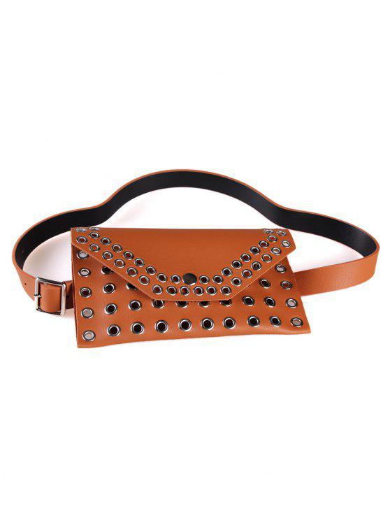 latest Hollow Out Rivets Funny Bag Waist Belt Bag - CAMEL BROWN