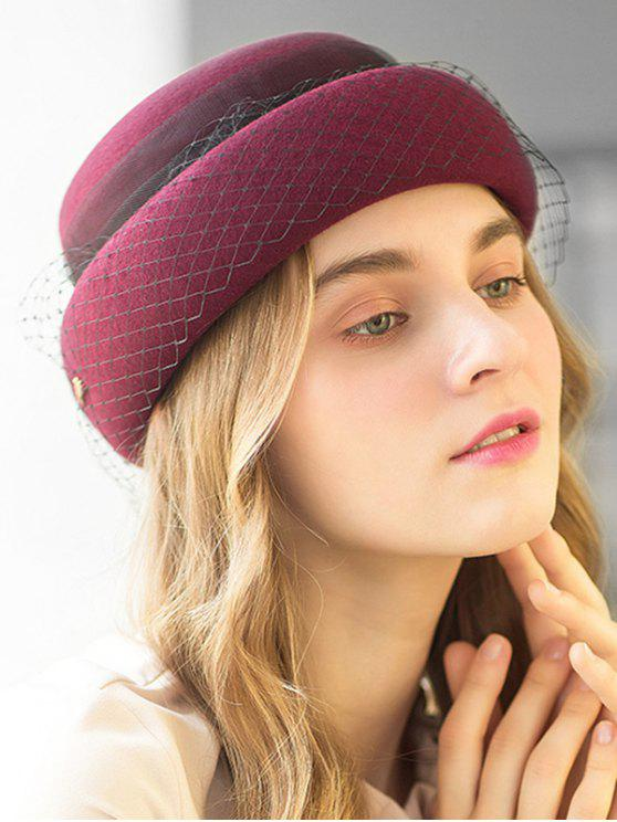 fashion Solid Color Mesh Wool Beret - RED WINE