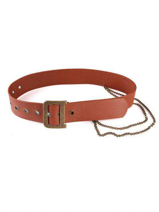 sale Punk Metal Buckle Artificial Leather Chain Belt - RUST