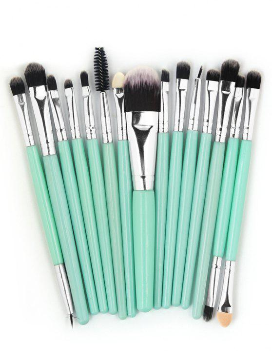 buy Professional 15 Pcs Fiber Soft Hair Cosmetic Tools Suit - MACAW BLUE GREEN