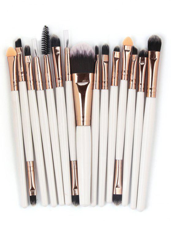 women Professional 15 Pcs Fiber Soft Hair Cosmetic Tools Suit - COFFEE