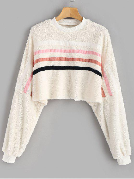 ladies ZAFUL Striped Patched Crop Fluffy Sweatshirt - BEIGE S