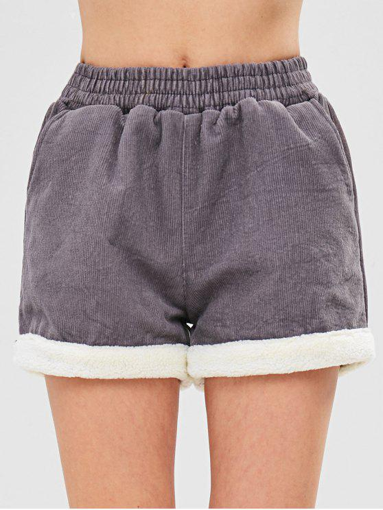 Short en velours de laine polaire - Gris L