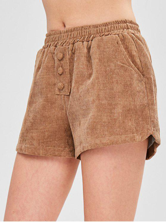 Pantaloncini In Velluto A Coste A Vita Elastica - Marrone Cammello XL