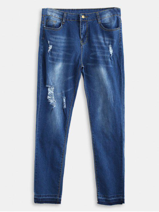 Destroyed Plus Size Skinny Jeans - Bleu Foncé Toile de Jean 1X