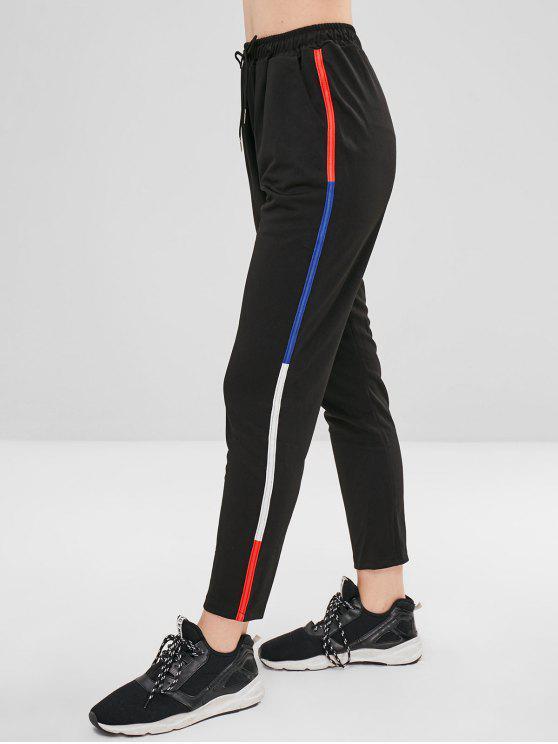 Pantalon Décontracté Rayé à Cordon - Noir XL