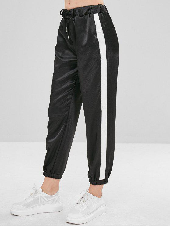 Pantalon de Jogging en Blocs de Couleurs en Satin - Noir L