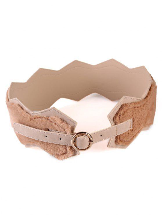 fashion Round Buckle Faux Fur Waist Belt - APRICOT