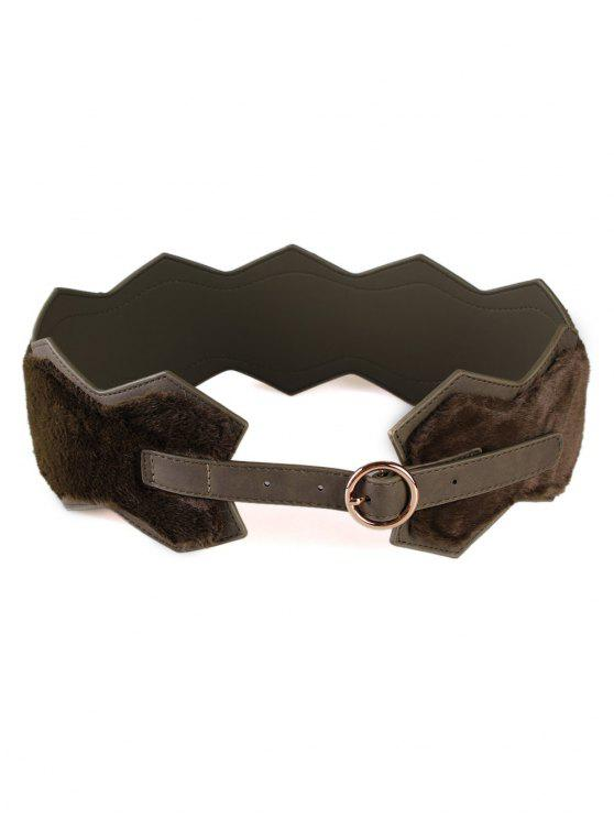 sale Round Buckle Faux Fur Waist Belt - DEEP GREEN