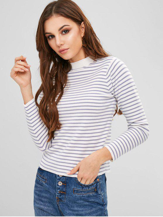 trendy Striped Knit Crew Neck Sweater - MULTI ONE SIZE