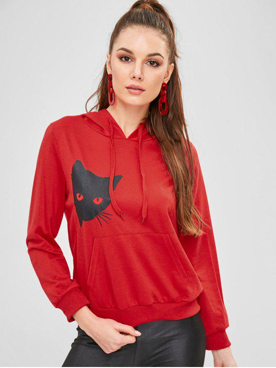 chic Cat Graphic Pocket Pullover Hoodie - RED 2XL