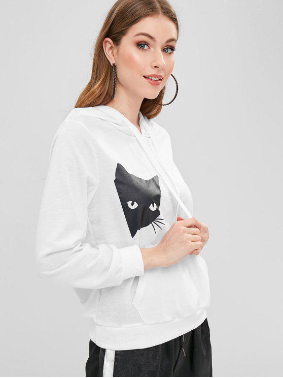 Felpa Con Cappuccio Pullover Stampata Gatto Con Tasca - Bianca XL
