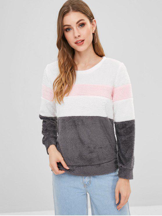 affordable Fluffy Color Block Sweatshirt - GRAY 2XL