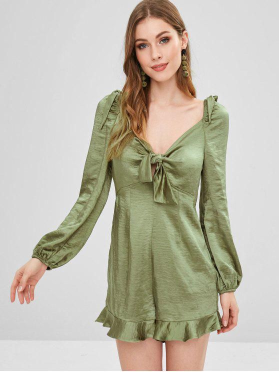 chic ZAFUL Empire Waist Knotted Satin Romper - FERN GREEN M