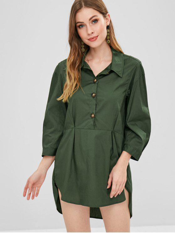 Robe Chemise à Demi-Bouton - Vert Forêt Noire L