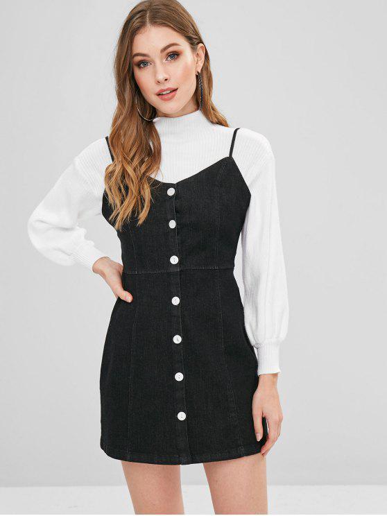 Mini Vestido de Denim con Tirante Fino con Botones - Negro M