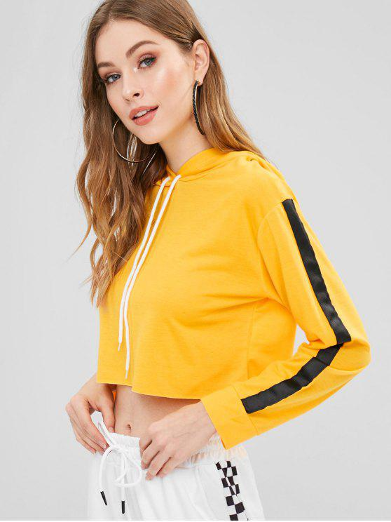 chic Tape Sleeve Cropped Hoodie - BRIGHT YELLOW M