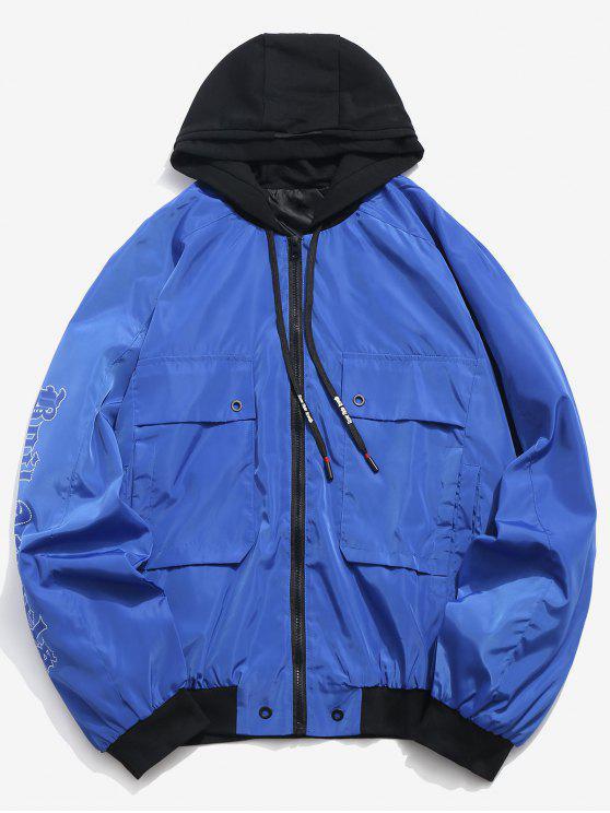 Chaqueta a prueba de viento con capucha y estampado de letras - Azul M