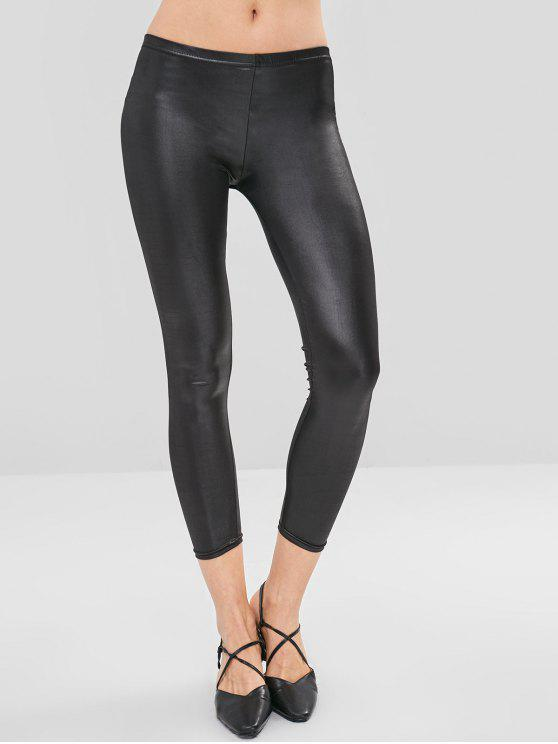 Collants en similicuir leggings - Noir XL