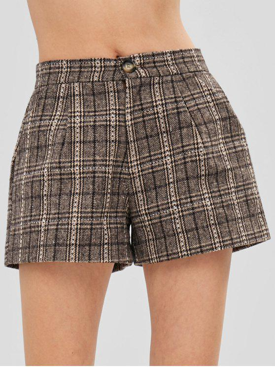 women Checked Tweed Shorts - MULTI L